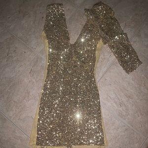 NEVER WORN Custom Made Gold Sequins dress